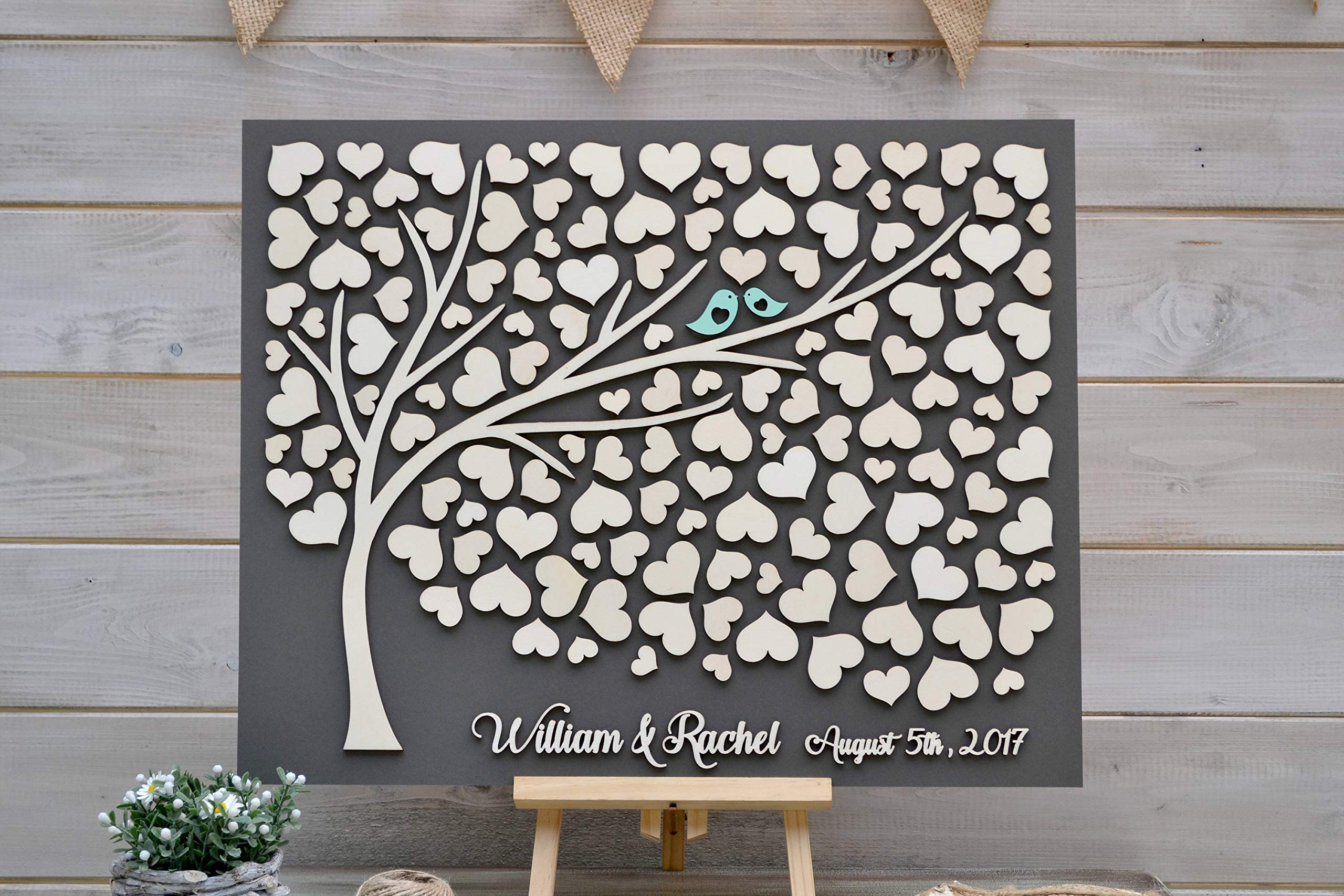 Custom 3D Grey Wedding Guest Book Alternative Tree Hearts Rustic Wedding Rustic Guest Book Unique Guestbook Wooden Tree of Life Wedding Gift