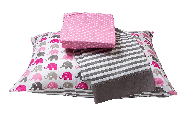 Bacati - Elephants 3 Pc Toddler Bedding Sheet Set (Pink/Grey)
