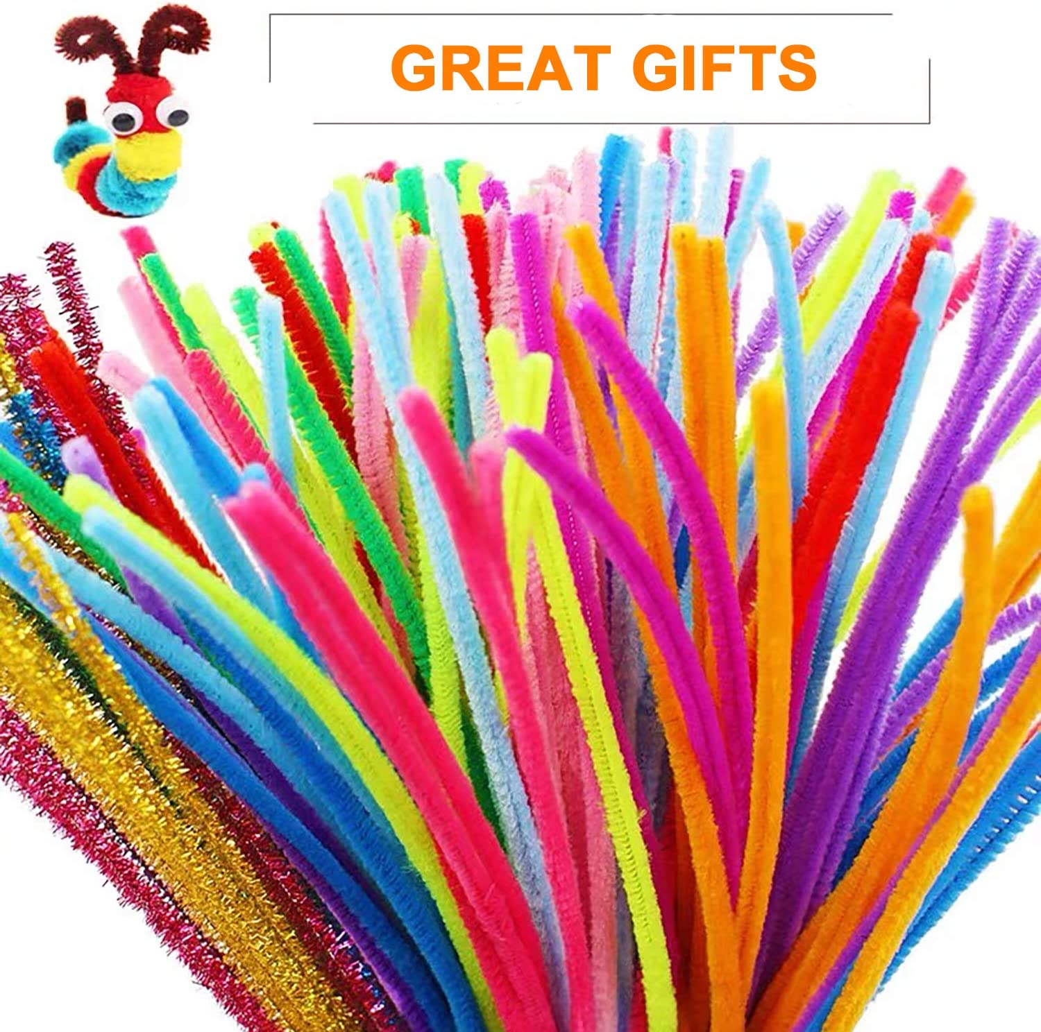 100pcs Pipe Pompom Balls 60pcs Wiggle Googly Eyes for DIY Art Craft Include 20 Assorted Colors and 6 Glitter Colors DeeCoo 1300 Pieces Pipe Cleaners Chenille Stems in 26 Colors