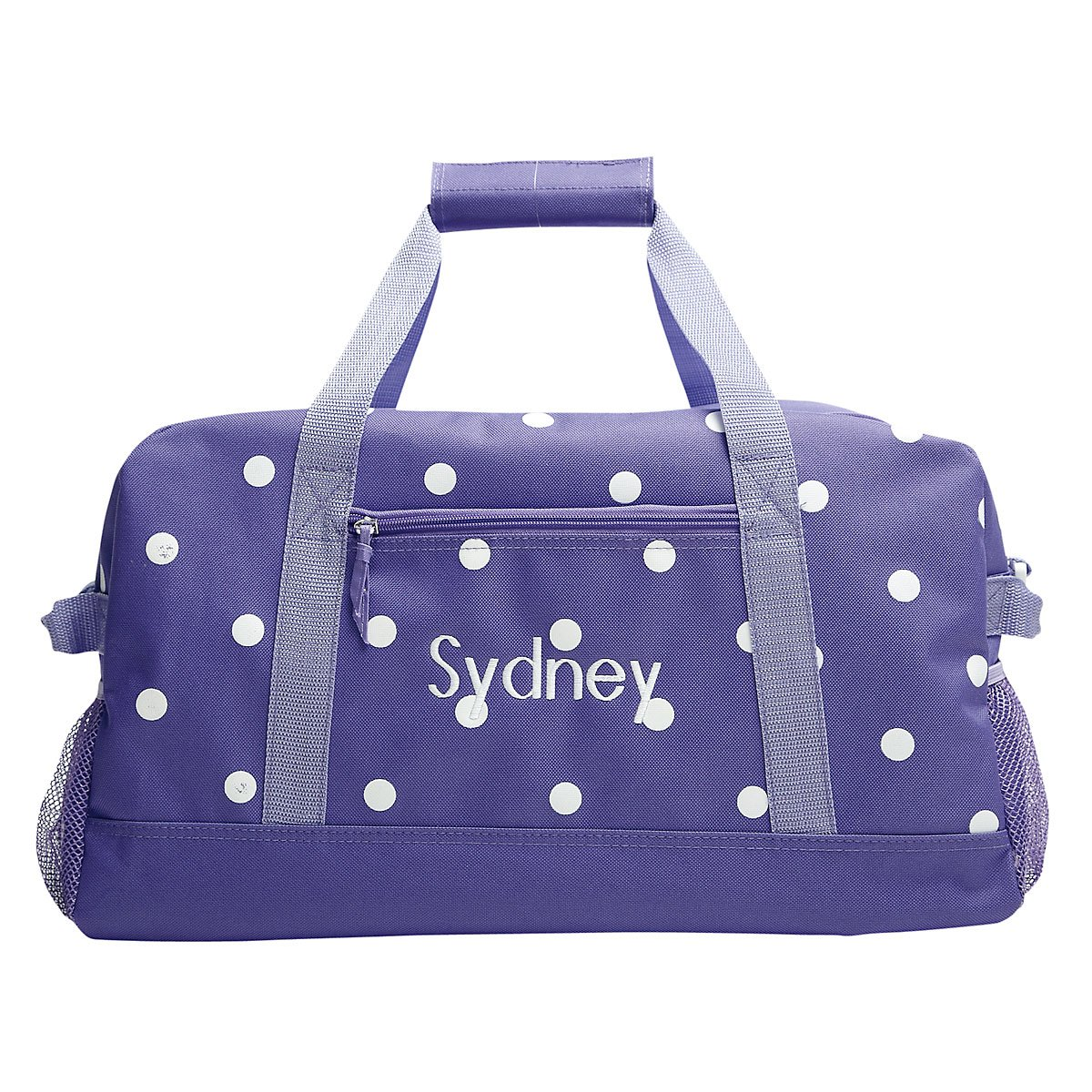 Personalized Kids Purple with White Dots Small Duffel Bag, Girls sports bag (9'' by 10 1/2 by 19'')