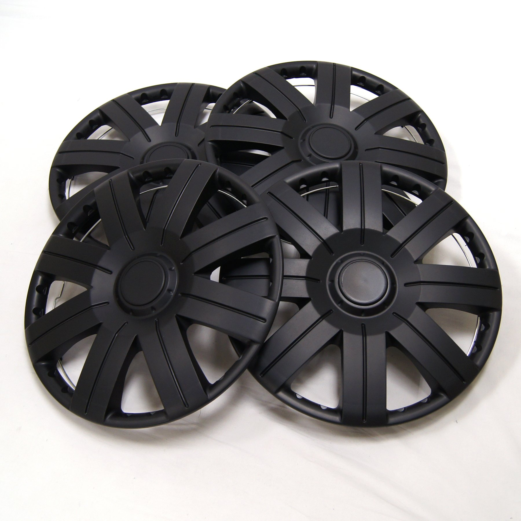 TuningPros WSC-613B15 Hubcaps Wheel Skin Cover 15-Inches Matte Black Set of 4 by TuningPros (Image #2)