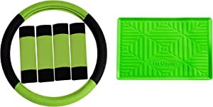 TLH Modernistic Steering Wheel Cover and Seat Belt Pads w/Anti-Slip Dash Mat, Green Color