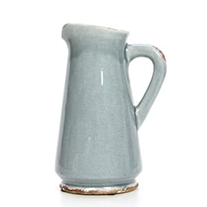"Hosley 10"" High, Blue Ceramic Pitcher/Vase. Ideal Gift for Weddings, Special Occasions, Garden Setting, Home/Office Decor, Dried Floral Arrangements, Spa, Aromatherapy Settings O5"