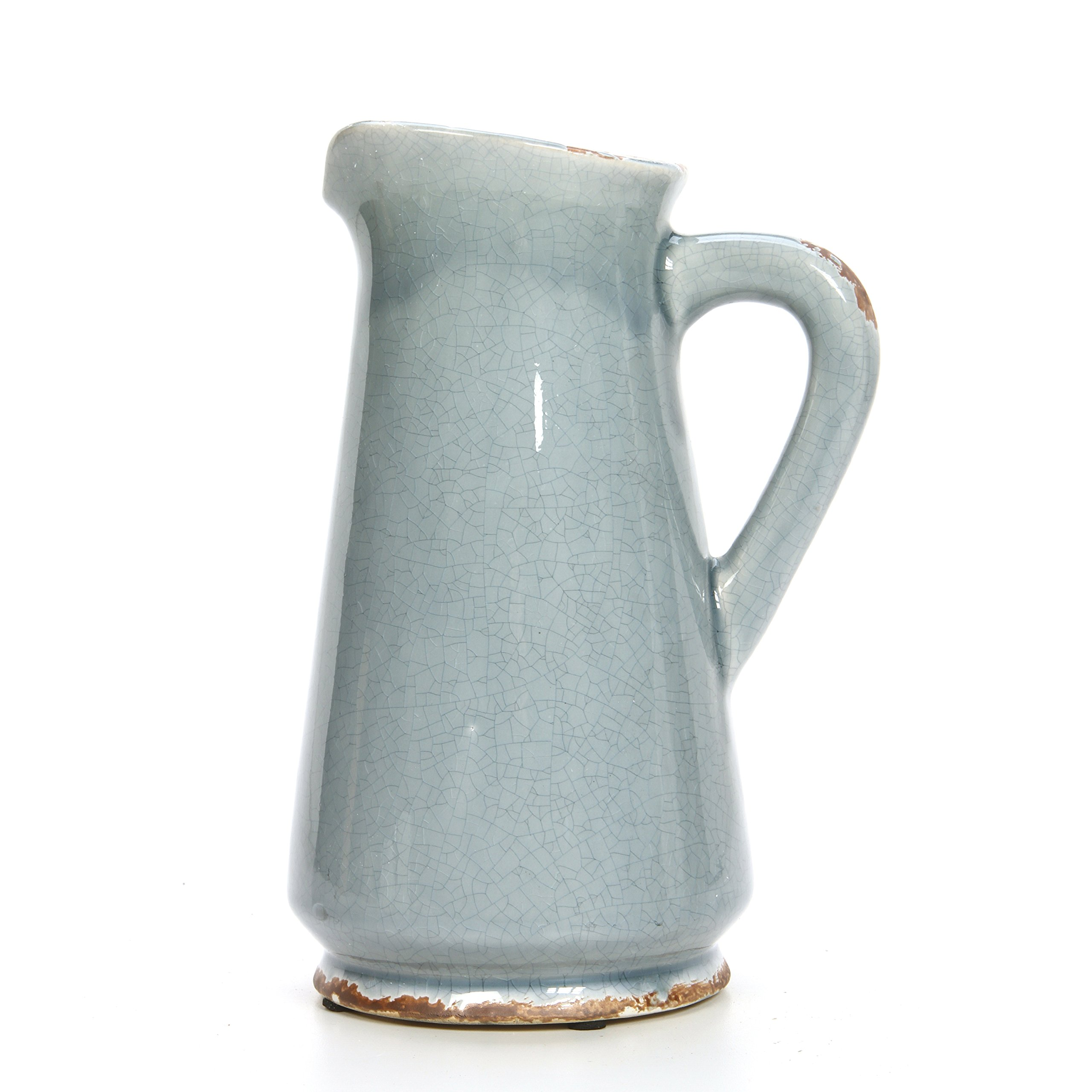 Hosley 10'' High, Blue Ceramic Pitcher/Vase. Ideal Gift for Weddings, Special Occasions, Garden Setting, Home/Office Decor, Dried Floral Arrangements, Spa, Aromatherapy Settings O5 by Hosley