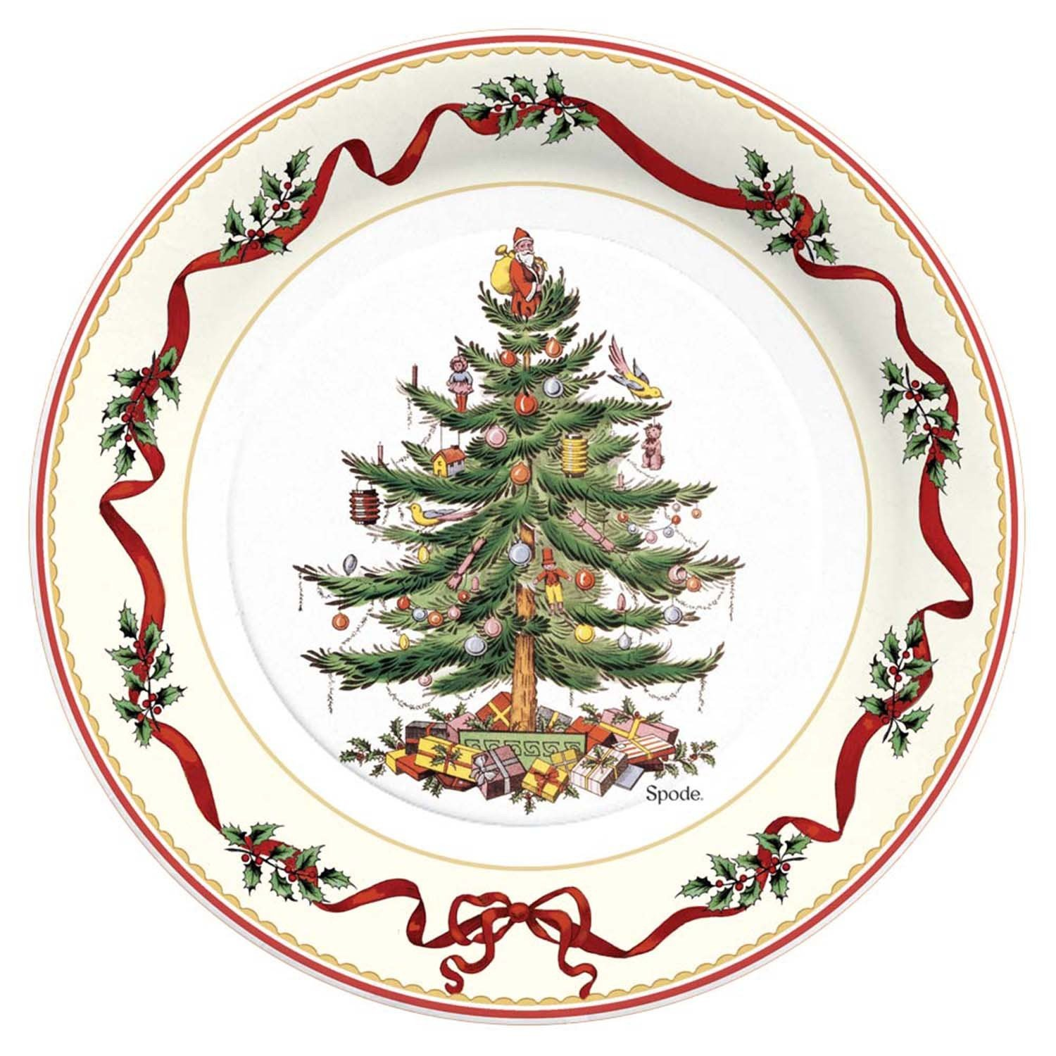 Amazon.com C.R. Gibson 8 Count Decorative Paper Dinner Plates Easy Clean Up Measures 10.5  - Christmas Holly u0026 Ribbon Kitchen u0026 Dining  sc 1 st  Amazon.com & Amazon.com: C.R. Gibson 8 Count Decorative Paper Dinner Plates Easy ...