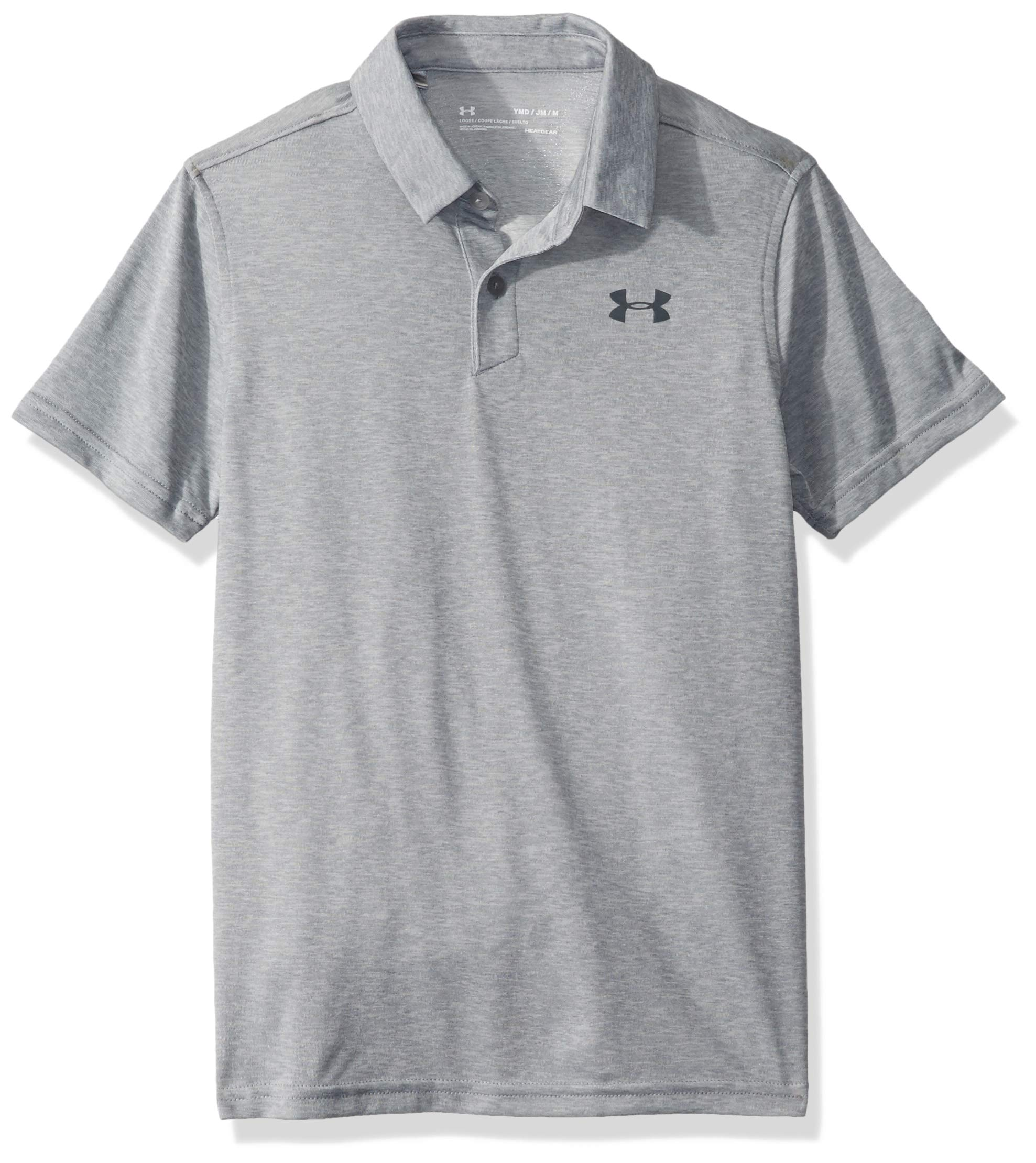 Under Armour Microthread Polo, Steel Light Heather (035)/Pitch Gray, Youth Large by Under Armour
