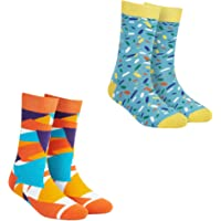 Dynamocks Pizzazz & Sprinkles (Pack of 2 Pairs) Men & Women Crew Length Socks (Combed Cotton)