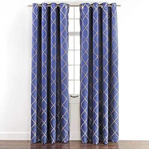 EVERDARK ENVISION Embroidered Grommet Panel with Blackout Lining, 54 x 84 , Cobalt