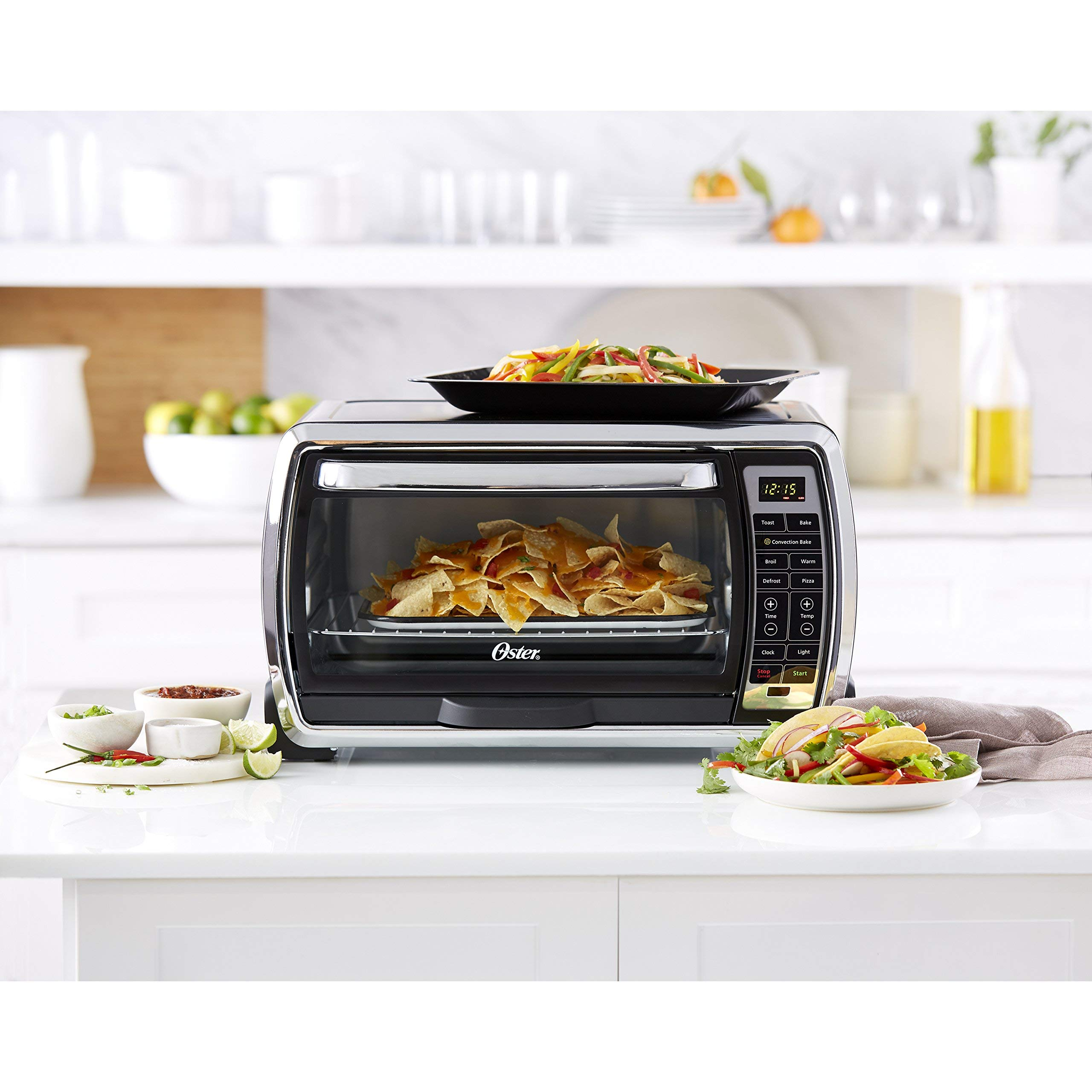 Oster Large Digital Countertop Convection Toaster Oven, 6 Slice, Black/Polished Stainless (TSSTTVMNDG-SHP-2) (Renewed) by Supportiback (Image #5)