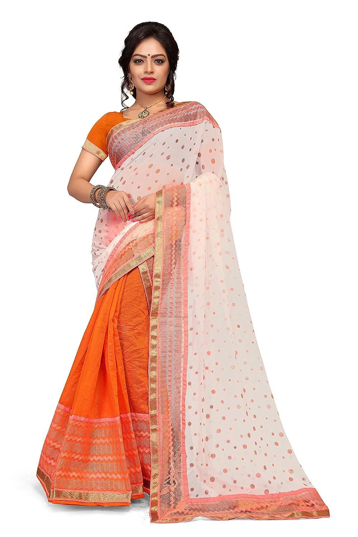 S Kiran's Women's Assamese Art Cotton Mekhela Printed Siphon Chador Saree (Orange, Free Size)