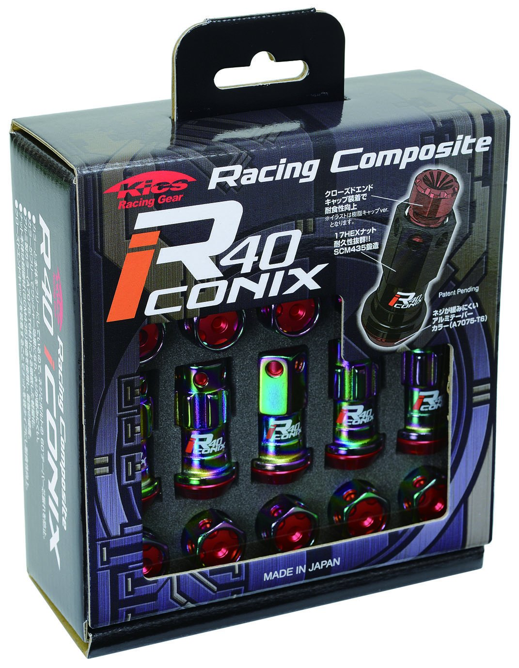 KYO-EI (協永産業) ホイールロック&ナット Racing Composite R40 iCONIX 【 M12 x P1.25 】 アルミキャップ付 【 ネオクロ/ブラック 】 RIA-13NK B00OYSJWN0
