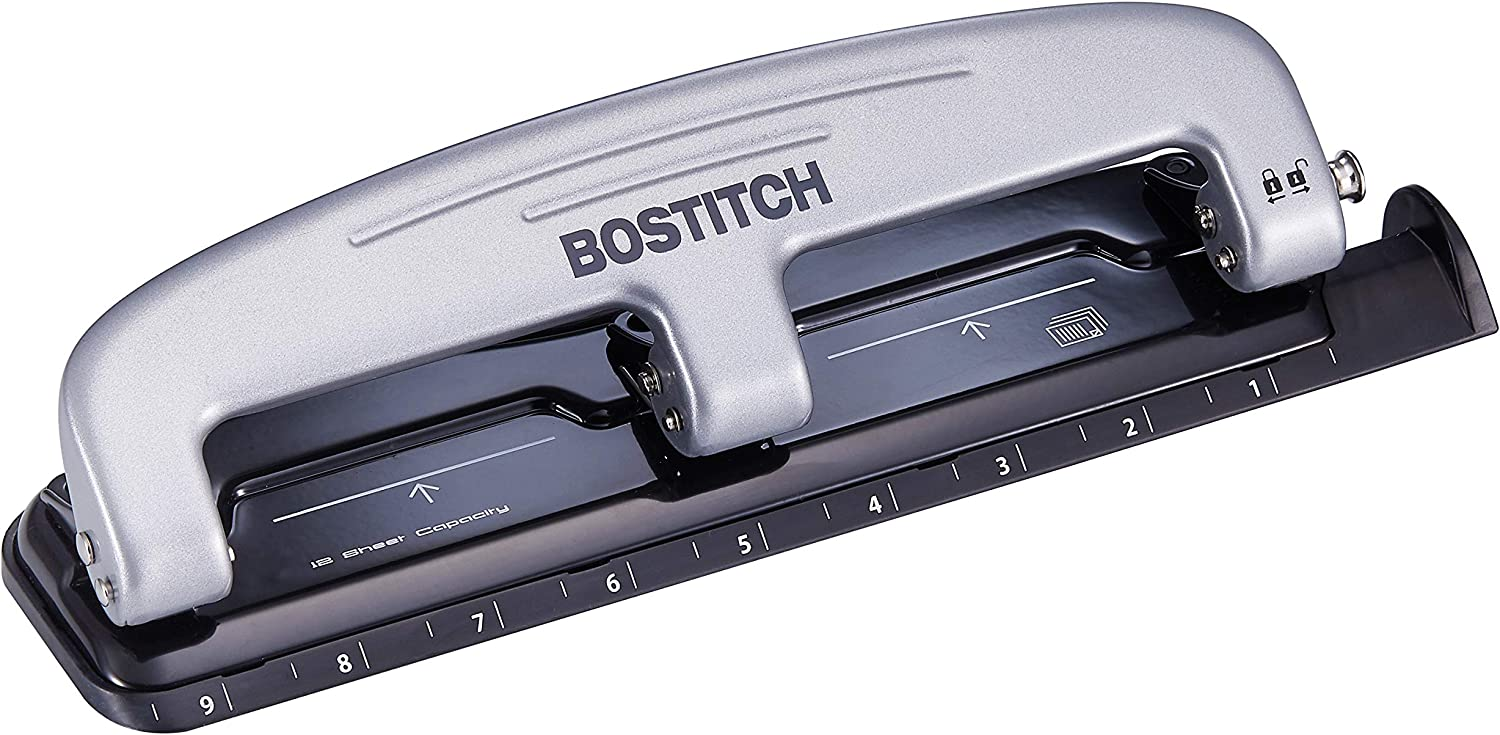 PaperPro inPRESS 12 Reduced Effort Three-Hole Punch, Silver/Black (2101) : Office Products