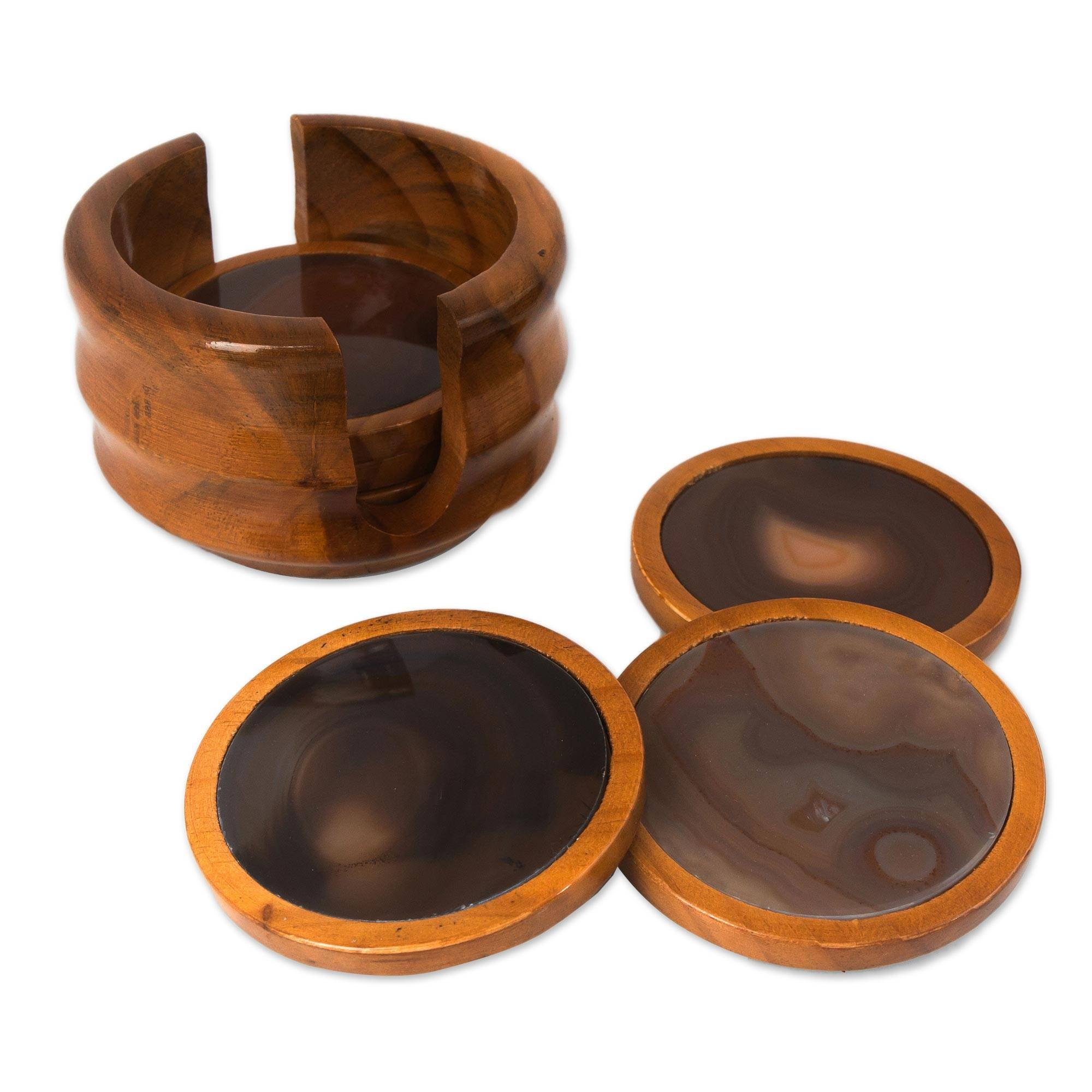 NOVICA Decorative Cedar Wood and Gray Agate Coasters, Brown, Burning Mist' (Set of 6) by NOVICA (Image #1)