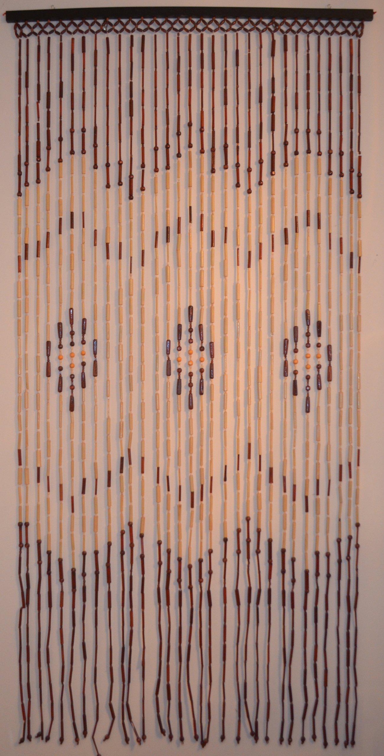 Natural Bamboo & Wood Beaded Curtain, Chevron Pattern , 35.43'' W X 71'' H # 69-803
