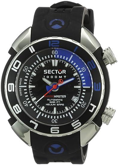 Sector Shark Master 1000 R3251178025 - Reloj de Caballero automático, Correa de Goma Color Negro: Amazon.es: Relojes