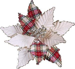 "6 Pcs Christmas Tartan Plaid and Burlap Poinsettia Flower Picks Christmas Tree Ornaments 11"" Wide for Rustic Vintage Christmas Tree Wreaths Garlands Winter Wedding Holiday Decoration"