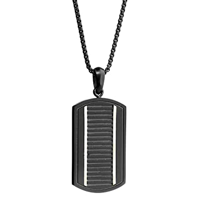 Lavari Stainless Steel Link Chain 24 Necklace with Black Plating