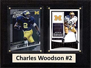 "product image for C&I Collectables NCAA Michigan Wolverines Men's Charles Woodson Two Card Plaque, Brown, 6""X8"""