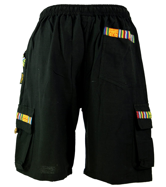 Guru-Shop Dicotone Pantaloncini Yoga Ethno Goastyle Pantaloni da Uomo
