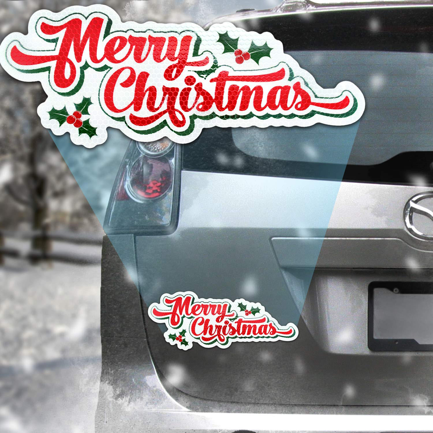 Bigtime Signs Jumbo Reflective Automotive Christmas Lights Magnet Set Fun Holiday Car Decorations Kit 12 pcs 2 of Each Color