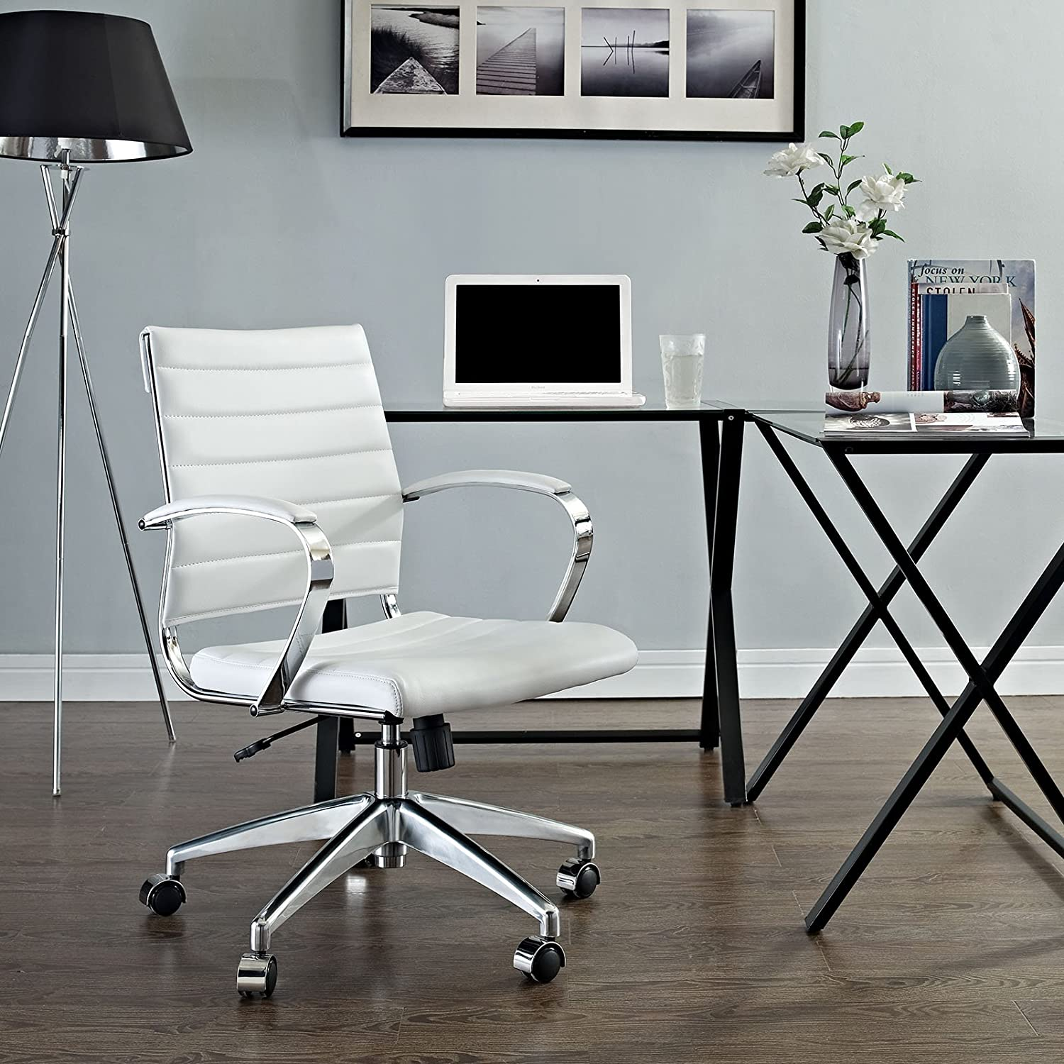 Modway Jive Ribbed Mid Back Computer Desk Swivel Office Chair In White