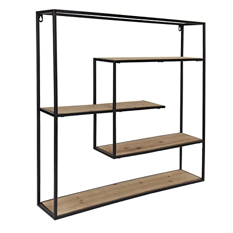 best sneakers f226f 3bada Kate and Laurel Ulna Large Modern Decorative Floating Wall Shelves with  Black Metal Frame, Rustic Brown Wood