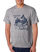 Mens I'd Rather be Fishing Graphic Print T-shirt