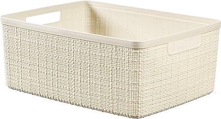 CURVER Cesta Jute 100% plástico Reciclado Rectangular, Blanco Roto, M: 12 L: Amazon.es: Hogar