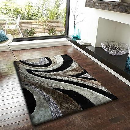 Alfombra Color Gris con Negro combination hecha a mano estilo moderno suave y lujosa , gruesa