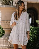 The Drop Women's White Print Loose Fit Flared Button Down Dress By @spreadfashion