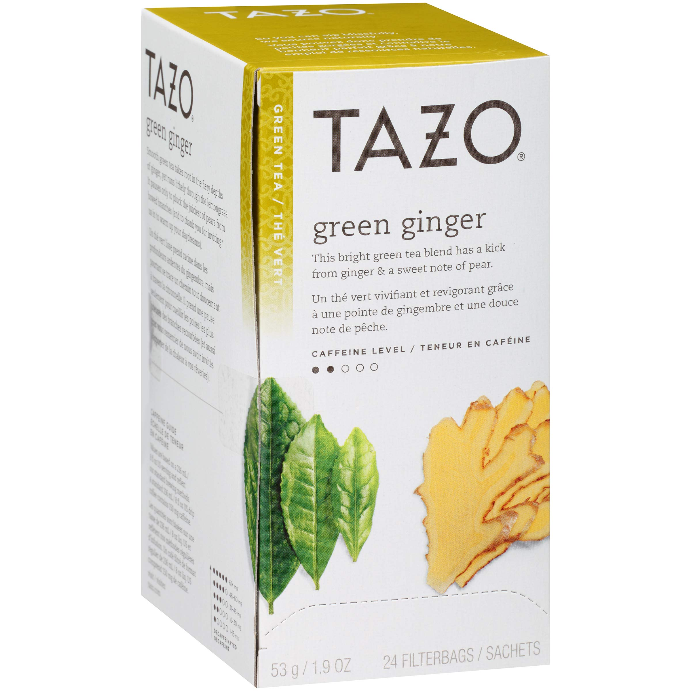 TazoGreen Ginger Enveloped Hot Tea Filterbags Non GMO, 24 count, Pack of 6