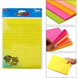 Hengjie Self-Stick Sticky Note Pad, Ruled, Neon Colors, 8.7 X 6.3 inch, 100 Sheets