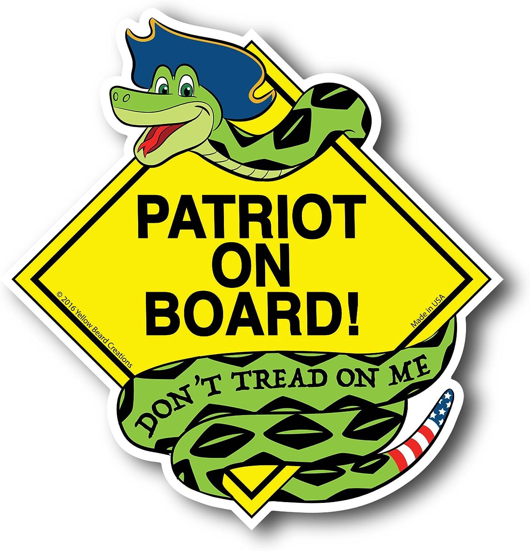 Patriot on Board Dont Tread on Me Gadsden Snake Patriotic American Car Magnet Yellow Beard Creations