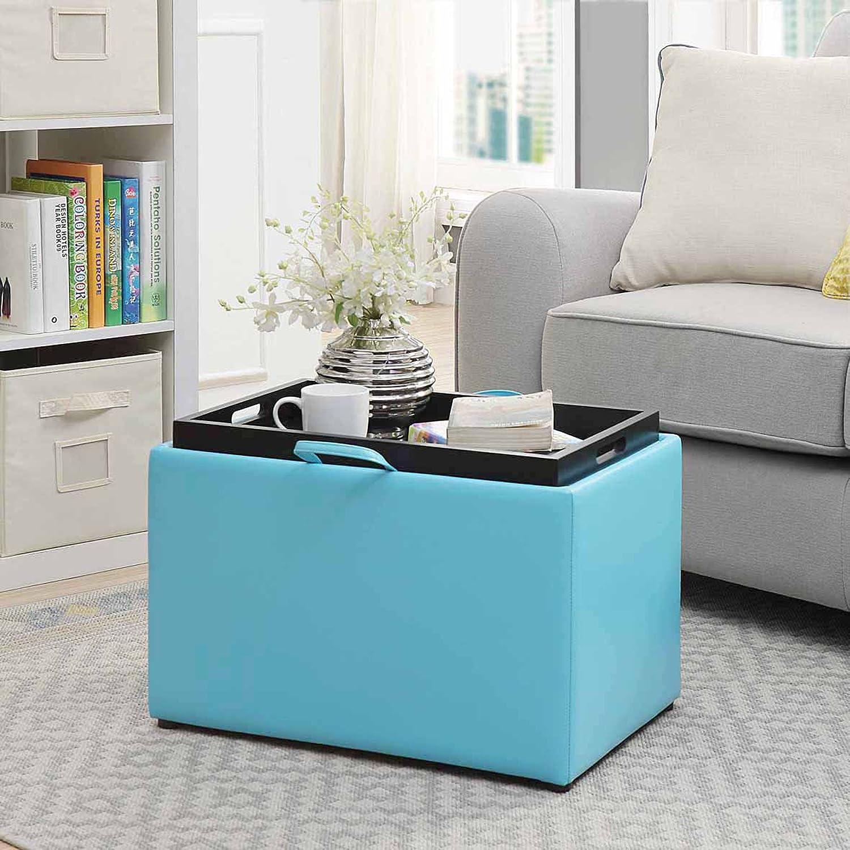 Amazon.com: Convenience Concepts Accent Storage Ottoman, Teal ...