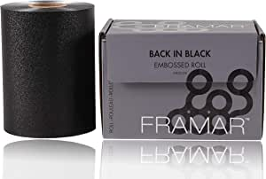 Framar Back in Black Embossed Roll Aluminum Foil, Hair Foils For Highlighting - Medium 320 ft