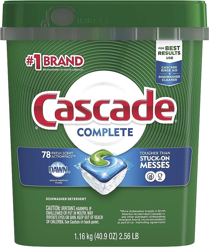 Amazon Com Cascade Complete Actionpacs Dishwasher Detergent Fresh Scent Health Personal Care