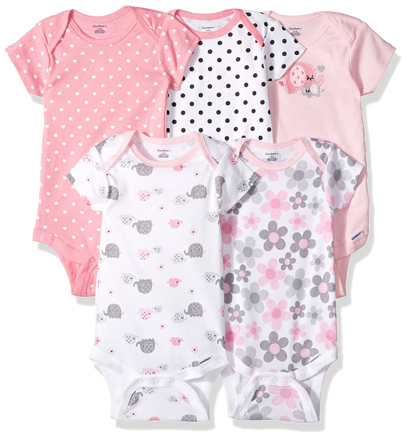 Gerber Baby Girls 5 Pack Onesies, Elephants/Flowers, Newborn 81884516AGR303M