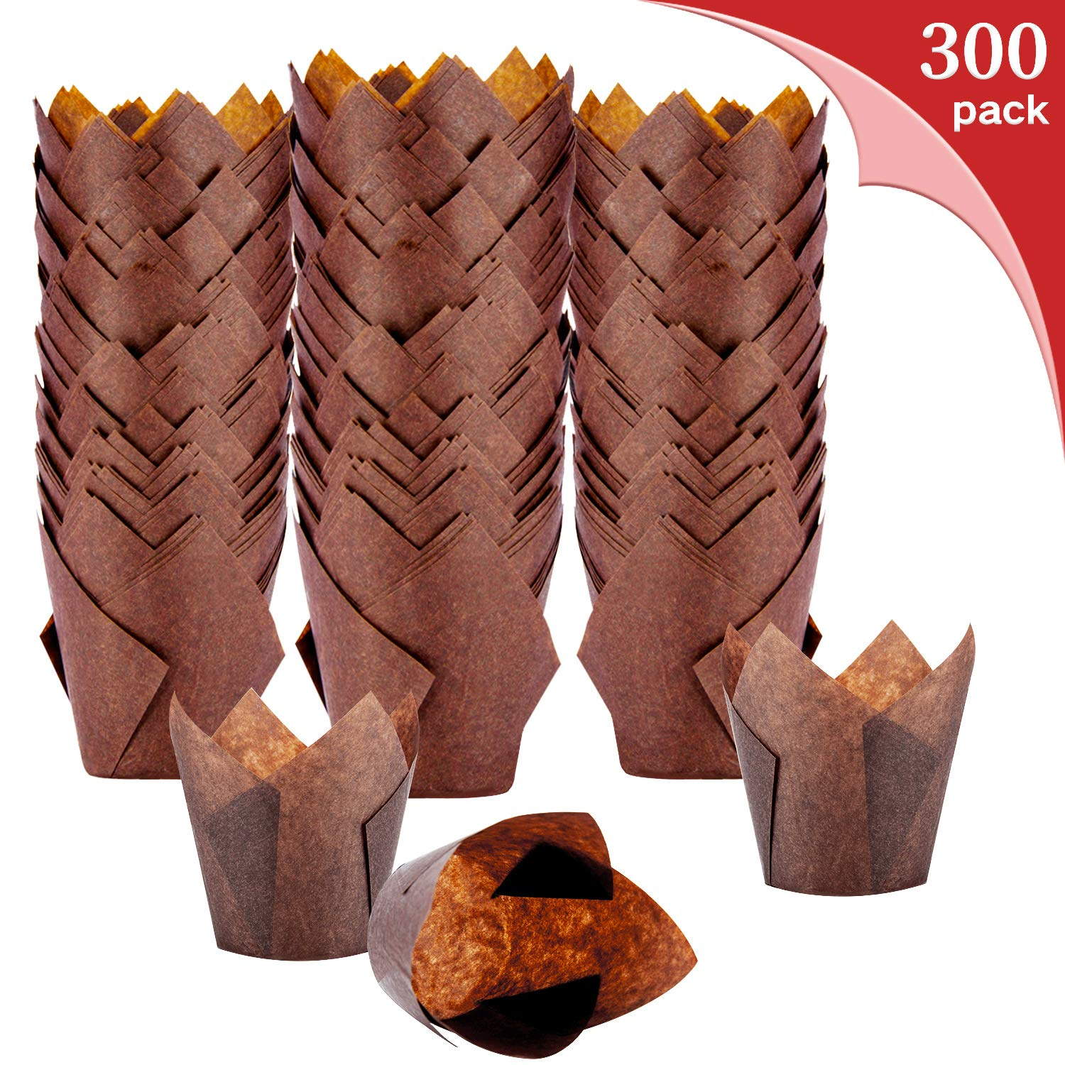 Tulip Cupcake Liners - 300-Pack Medium Baking Cups, Muffin Wrappers, Perfect for Birthday Parties, Weddings, Baby Showers, Bakeries, Catering, Restaurants. (Brown) by XP-Art