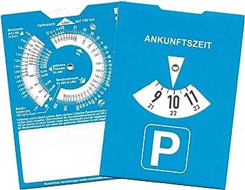 Europa Parkscheibe Parkuhr Mit Benzinrechner Rückseite Neutral Ohne Werbung 50 Auto