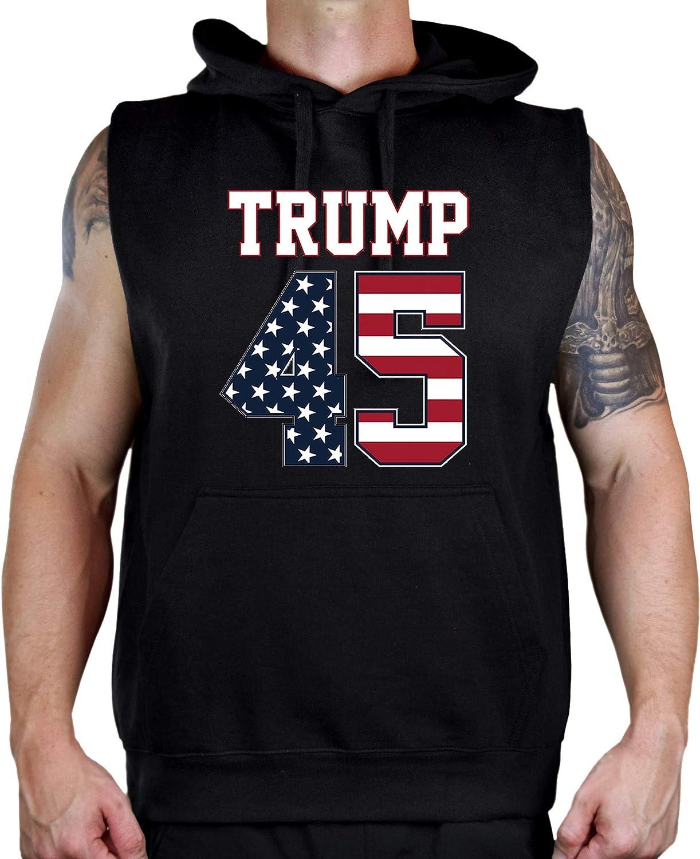 Interstate Apparel Mens Trump 45 Black Sleeveless Vest Hoodie