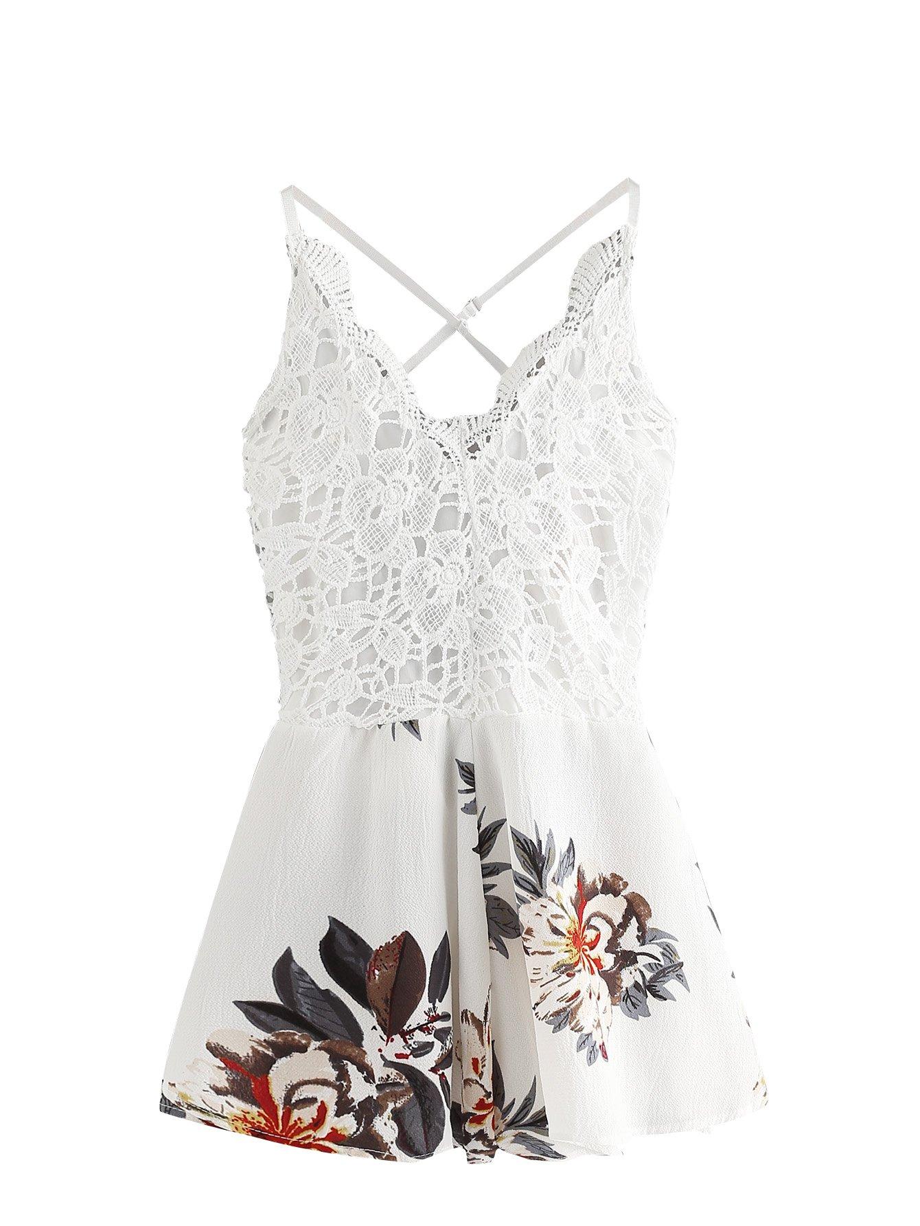 SheIn Women's Boho Crochet V Neck Halter Backless Floral Lace Romper Jumpsuit Large White#2