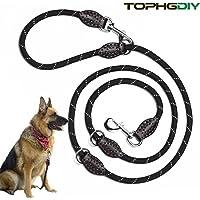 Premium Hundeleine Doppelleine 2m von TOPHGDIY für große Hunde 4 fach verstellbar Führleine Laufleine Umhängeleine handmade Leder Leine Gurt für Hunde schwarz