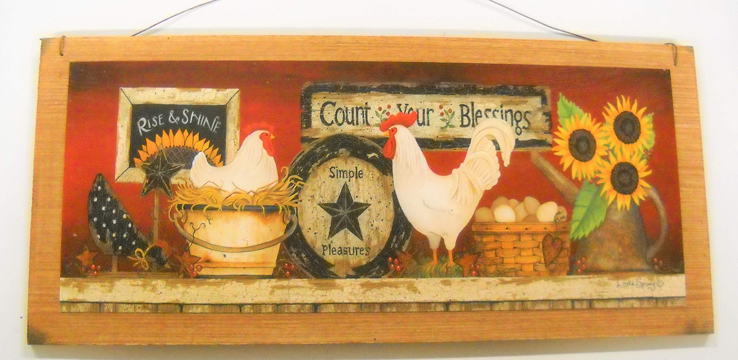 2c0cf92ba35d Amazon.com: Rooster Country Kitchen Wooden Wall Art Sign Farm Decor: Home &  Kitchen