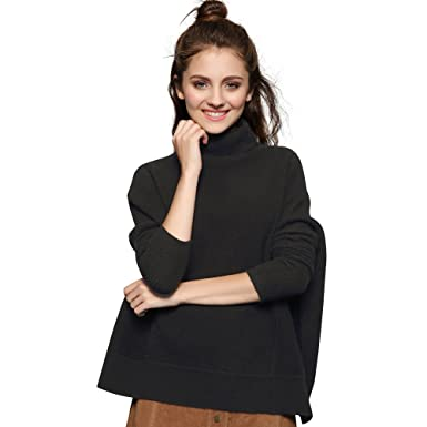 Chesslyre Black Cashmere Sweater Womens Relaxed Fit High Neck Plus