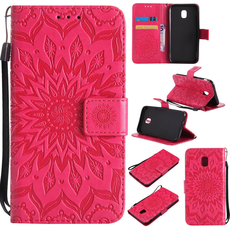 SMYTU Custodia Samsung Galaxy J3 2017 Cover, Custodia in Pelle con Rilievo Supporto di Stand Built-in Card Slot Cover per Samsung Galaxy J330/J3 2017 Custodia Pelle(Goldrose) sam-j32017-sunflower-kt-pink