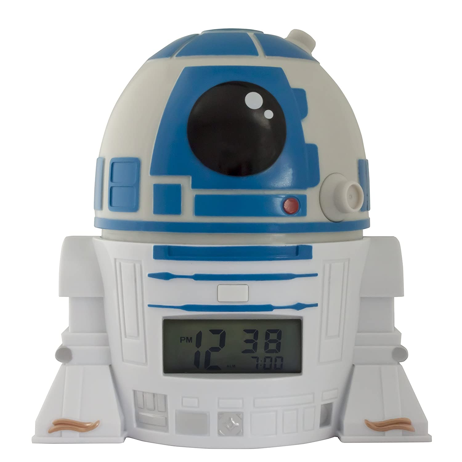 BulbBotz Star Wars 2021401 The Last Jedi R2D2 Kids Night Light Alarm Clock with Characterised Sound | blue/white| plastic | 5.5 inches tall | LCD display | boy girl | official Accessory Consumer Accessories