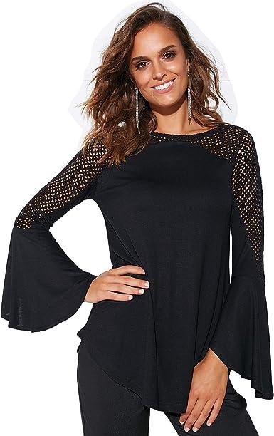 VENCA Camiseta de Fiesta con guipur geométrico Mujer - 024366 ...