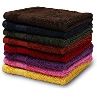 Turkish Bath Cotton 550 GSM 33X33 cm Face Towel -Multi-Coloured-Set of 8