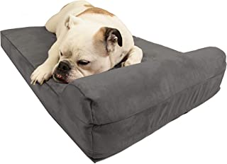 "product image for Big Barker Mini - 4"" Pillow Top Orthopedic Dog Bed with Headrest for Small and Medium Sized Dogs 20 - 50 Pounds (Medium (33 x 21), Charcoal Grey)"