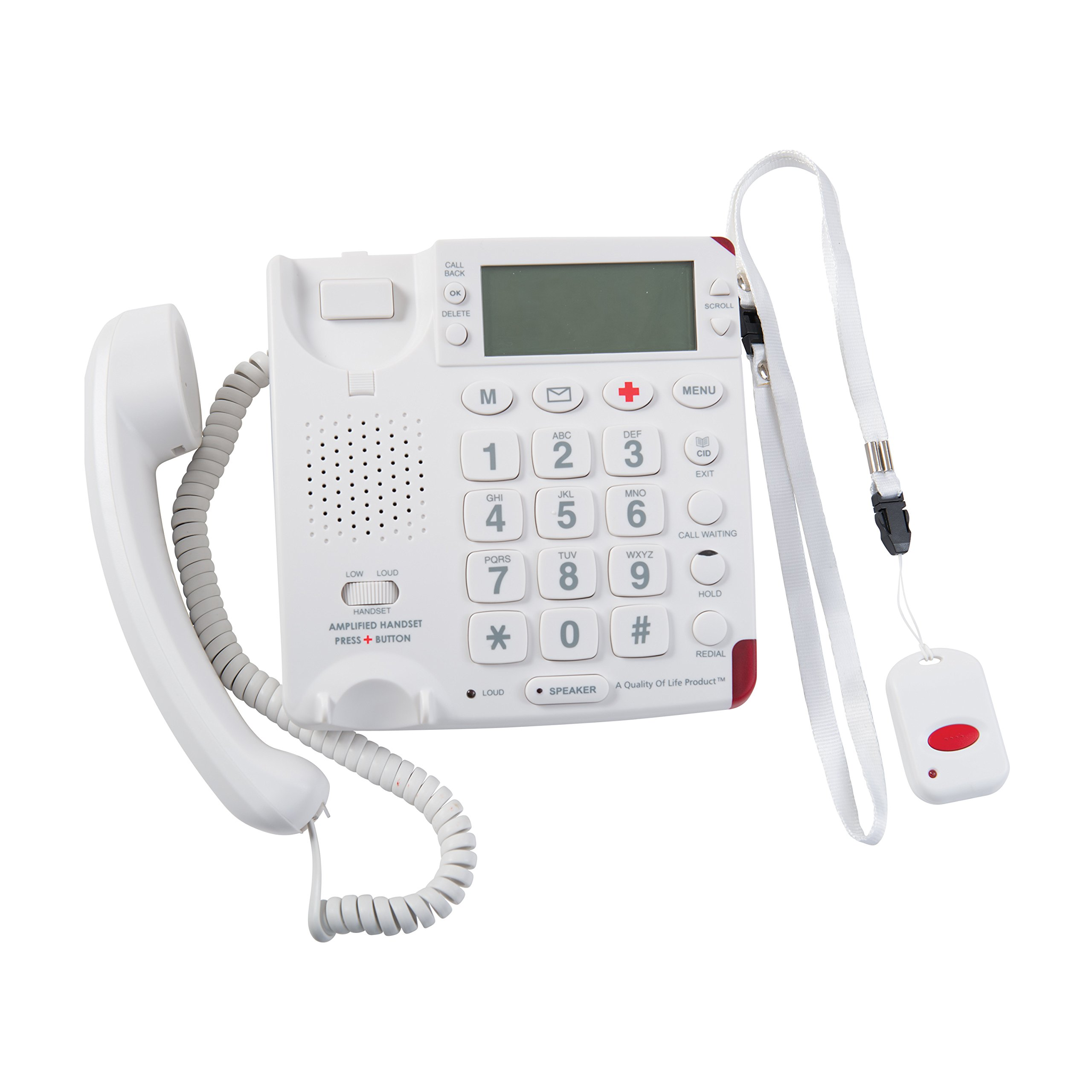 Telemergency Emergency Alert Telephone with Wireless Pendant and No Monthly Fees